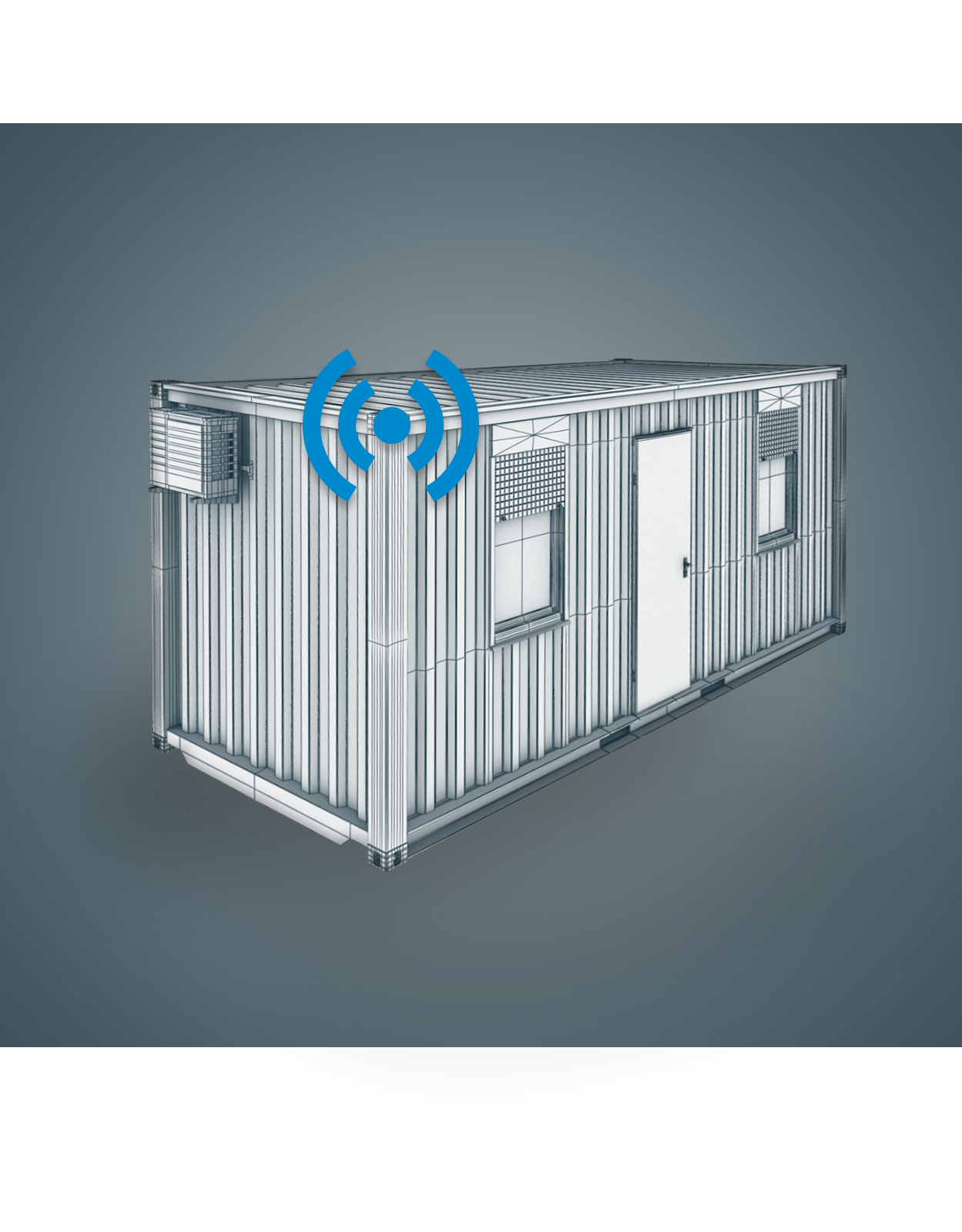 A model of a WeatherBuild station mounted on a job site trailer